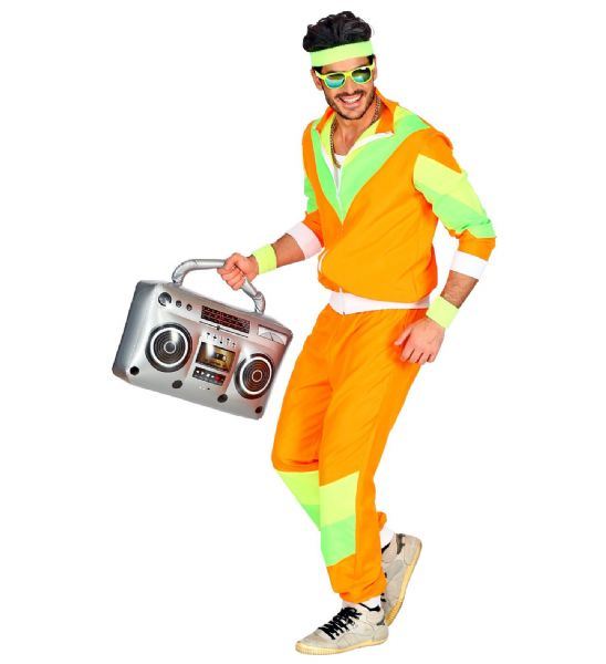 Adults Mens 80s Shell Suit Orange/Green 80s 90s Club Party Fancy Dress Costume
